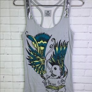 Nollie Peacock Gray Sequin Tank Top Womens Size L